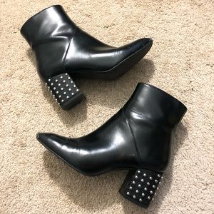 Silver Studded Black Faux Leather Booties
